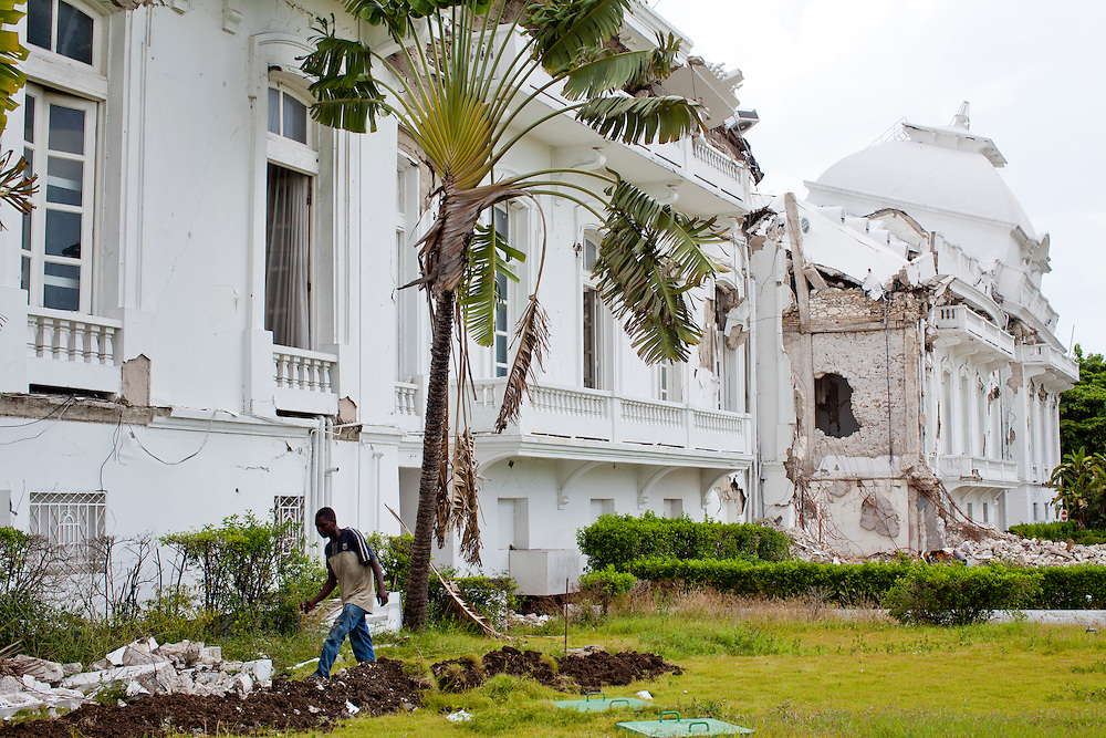 The National Palace still stands in ruins on July 7, 2010 in Port-au-Prince, Haiti.