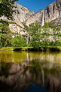 Yosemite Falls — both the upper and lower tiers — is reflected in the Merced River in Yosemite National Park, California. With a height of 2,425 feet (739 meters), Yosemite Falls is the highest measured waterfall in North America and the fifth-highest in the world.