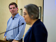 11 APRIL 2019 - AMES, IOWA: Rep. ERIC SWALWELL (D-CA) is introduced at his town hall meeting on the campus of Iowa State University in Ames. Swalwell represents California's 15th District but is originally from Algona, Iowa. His appearance in Ames Thursday was his first appearance in Iowa since announcing his candidacy to be the Democratic nominee for the US Presidency on April 8, although he made about 20 trips to Iowa since the 2016 election. Iowa traditionally hosts the the first election event of the presidential election cycle. The Iowa Caucuses will be on Feb. 3, 2020.        PHOTO BY JACK KURTZ