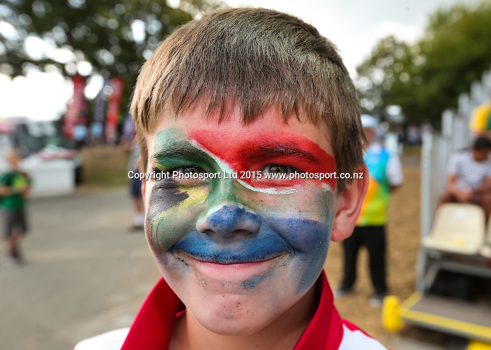 Cricket fan during the ICC Cricket World Cup match - South Africa v Zimbabwe at Seddon Park, Hamilton, New Zealand on Sunday 15 February 2015.  Photo:  Bruce Lim / www.photosport.co.nz