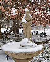 Birdbath and Statue after the First Snow. Autumn Backyard Nature in New Jersey. Image taken with a Leica T camera and 11-23 mm lens (ISO 400, 23 mm, f/5.6, 1/200 sec)