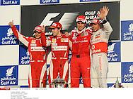 Grand prix de Bahraïn 2010..Circuit de shakir. 14 mars 2010..Course..Photo Stéphane Mantey/ L'Equipe. *** Local Caption *** massa (felipe) - (bre) -..alonso (fernando) - (esp) - ..domenicali (stefano)..hamilton (lewis) - (gbr) -