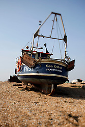 UK ENGLAND DUNGENESS 24MAR12 - Fishing boats at Dungeness shingle beach on the Kent coast. It is the  largest area of open shingle in Europe, measuring 12 km by 6 km, which has been deposited by the sea and built up over thousands of years.....jre/Photo by Jiri Rezac....© Jiri Rezac 2012