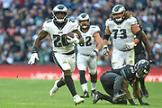 Philadelphia Eagles Wendell Smallwood RB (28) on his way to touchdown during the International Series match between Jacksonville Jaguars and Philadelphia Eagles at Wembley Stadium, London, England on 28 October 2018.