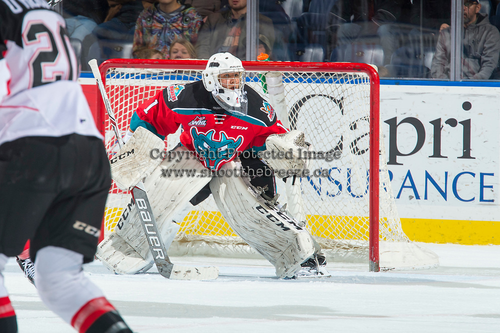 KELOWNA, CANADA - OCTOBER 28: James Porter #1 of the Kelowna Rockets defends the net against the Prince George Cougars on October 28, 2017 at Prospera Place in Kelowna, British Columbia, Canada.  (Photo by Marissa Baecker/Shoot the Breeze)  *** Local Caption ***