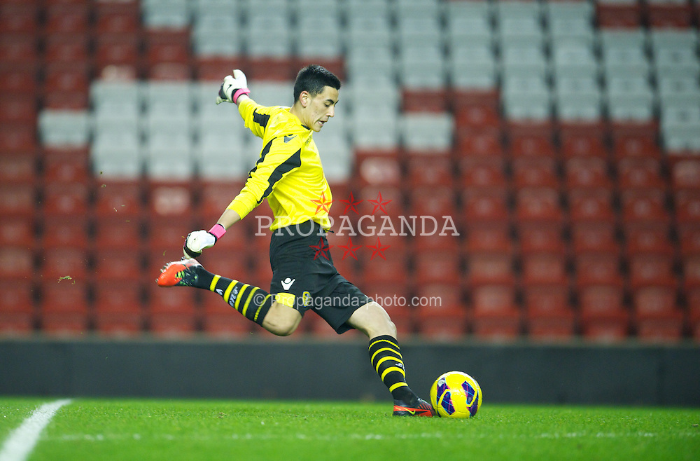 LIVERPOOL, ENGLAND - Thursday, February 28, 2013: Leeds United's goalkeeper Eric Grimes in action against Liverpool during the FA Youth Cup 5th Round match at Anfield. (Pic by David Rawcliffe/Propaganda)