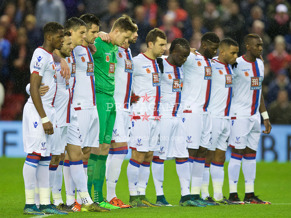 LIVERPOOL, ENGLAND - Sunday, November 8, 2015: Crystal Palace players stand for a minute's silence for Remembrance Sunday before during the Premier League match against Liverpool at Anfield. Goalkeeper Wayne Hennessey. (Pic by David Rawcliffe/Propaganda)