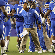 Sept. 11, 2010 - Lexington, Kentucky, USA -  University of Kentucky first-year head coach JOKER PHILLIPS was all smiles after one of his team's first half touchdowns as the University of Kentucky played Western Kentucky University at Commonwealth Stadium. Kentucky won the game, 63-28. (Credit image: © David Stephenson/ZUMA Press)