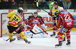 03.01.2014, Albert Schultz Eishalle, Wien, AUT, EBEL, UPC Vienna Capitals vs EC KAC, 63. Runde, im Bild Mike Ouellette, (UPC Vienna Capitals, #28) , Martin Schumnig, (EC KAC, #28), Rene Swette, (EC KAC, #30), Kirk Furey, (EC KAC, #25), Marcus Olsson, (UPC Vienna Capitals, #20) und Thomas Poeck, (EC KAC, #22) // during the Erste Bank Icehockey League 63rd Round match between UPC Vienna Capitals and EC KAC at the Albert Schultz Ice Arena, Vienna, Austria on 2014/01/03. EXPA Pictures © 2014, PhotoCredit: EXPA/ Thomas Haumer