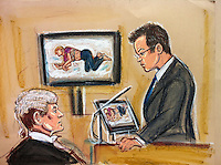 The court asks Vincent Tabak, to view a monitor showing the body of Joanna Yeates lying in a mortuary. Tabak, a Dutch engineer is accused of strangling joanna Yeates in Bristol, in December 2010