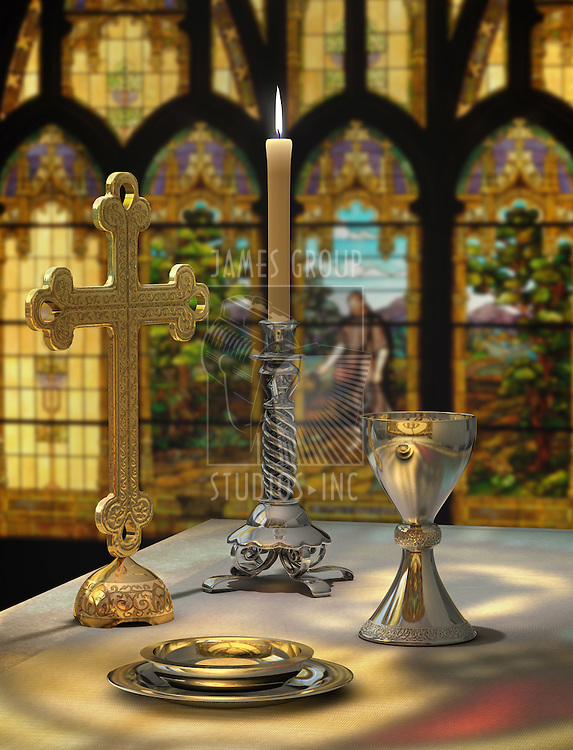 Elements of the Eucharist on an altar against a stained glass window in the background: host, chalice, candle, cross and altar