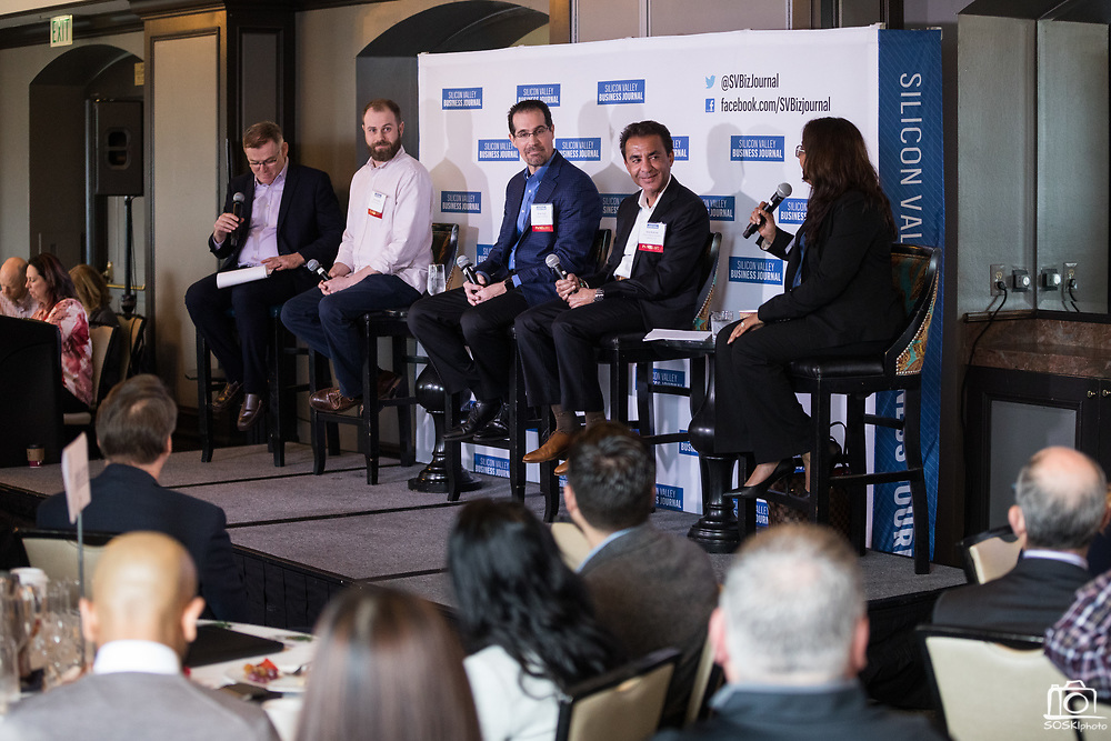Panel discussion during the Business of Cannabis event at the Silicon Valley Capital Club in San Jose, California, on April 4, 2019. (Stan Olszewski for Silicon Valley Business Journal)