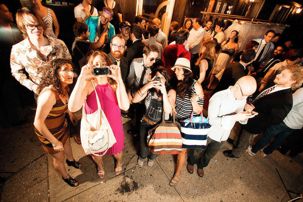 Kate Berlant, Jacqueline Novak, Chesley Calloway, Livia Scott, Jessica Delfino and Matt Wayne - The Creek Awards & One Year in New York Comedy photo opening & The Creek and The Cave 10 Year Anniversary party - August 25, 2012 - Long Island City, New York
