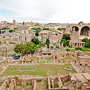 The historic ruins of the Foro Romano in Rome, Italy.