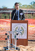Shawn Attar comments during a groundbreaking ceremony for the new Energy Institute High School, November 19, 2016.