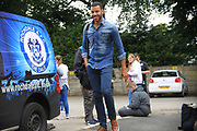 Stephen Reid arrives for the game during the Joe Thompson's Allstars v Joe Thompson's Celebrity 11 in Rochdale at the Crown Oil Arena, Rochdale, England on 21 July 2019.