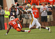 CLEMSON,SC: Georgia Tech 's Morgan Burnett intercepts a ball intended for  Clemson's Jacoby Ford  on Saturday,10/18/08 at Clemson. ©2009 Johnny Crawford