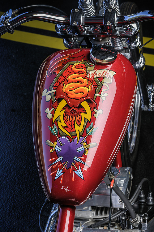 Stretched shovelhead chopper | personal collection of James Hetfield