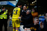 Joe Powell thanking Burton Albion supporters after the EFL Sky Bet League 1 match between Southend United and Burton Albion at Roots Hall, Southend, England on 22 February 2020.