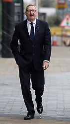 © Licensed to London News Pictures . 04/10/2015 . Manchester , UK . General Secretary of Unite LEN McCLUSKEY arrives for the Marr Show at the BBC at Media City in Salford . Photo credit: Joel Goodman/LNP