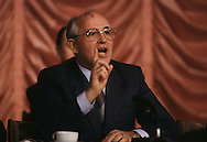 Mikhail  Gorbachev during a press conference at the Russian embassy at the summit in Washington DC in December 1987...Photograph by Dennis Brack BB31