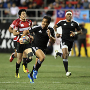 NZ 7's Johnathan Malo enroute to a second half try versus Japan at the USA Sevens, Las Vegas, Nevada, USA.  Photo by Barry Markowitz, 2/10/12