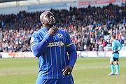 Bayo Akinfenwa forward for AFC Wimbledon (10) scores to make it 1-2 during the Sky Bet League 2 match between Plymouth Argyle and AFC Wimbledon at Home Park, Plymouth, England on 9 April 2016. Photo by Stuart Butcher.