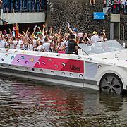 NLD/Amsterdam/20190803 - Gaypride 2019, boot van taxidienst Uber