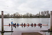 Hammersmith. London. United Kingdom,  LEA RC boating from the Furnivall SC pontoon. 2018 Men's Head of the River Race.  location Barnes Bridge, Championship Course, Putney to Mortlake. River Thames, <br />