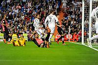 Real Madrid´s Cristiano Ronaldo marks a goal during 2014-15 La Liga match between Real Madrid and Almeria at Santiago Bernabeu stadium in Madrid, Spain. April 29, 2015. (ALTERPHOTOS/Luis Fernandez)