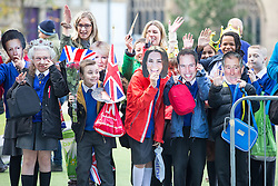 © Licensed to London News Pictures . 14/10/2016 . Manchester , UK . School children wait for the arrival of the Duke and Duchess of Cambridge outside the National Football Museum , on a visit Manchester . Photo credit : Joel Goodman/LNP