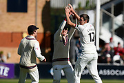 Wicket - Craig Overton of Somerset celebrates taking the wicket of Alex Davies of Lancashire during the Specsavers County Champ Div 1 match between Somerset County Cricket Club and Lancashire County Cricket Club at the Cooper Associates County Ground, Taunton, United Kingdom on 13 September 2017. Photo by Graham Hunt.