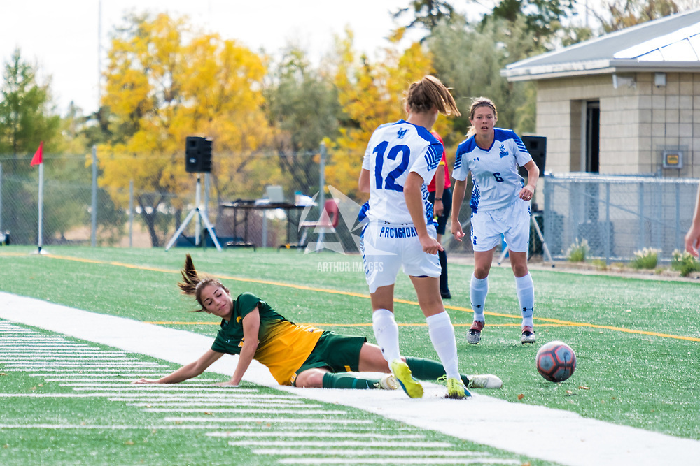 3rd year midfielder Brigit Sinaga (10) of the Regina Cougars in action during the Women's Soccer Home Game on September 24 at U of R Field. Credit Matt Johnson/©Arthur Images 2017