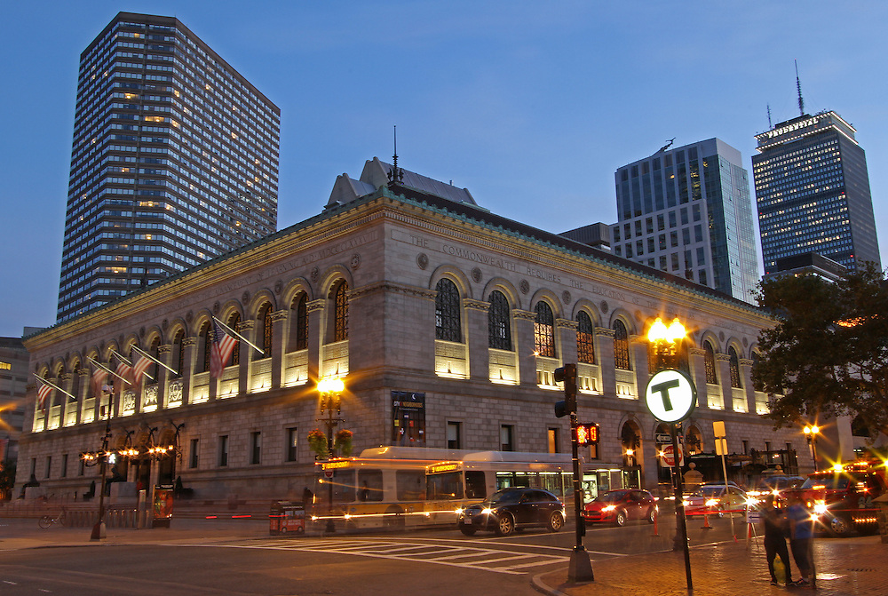 Historic Boston landmark photography image of the Public Library on a beautiful summer night captured shortly after sunset at twilight. The Boston Public Library was founded in 1848 and is also known as the Library for the Commonwealth. The public library is located at Copley Square on the corner of Boylston Street and Dartmouth Street in the Boston neighborhood of Back Bay.<br /> <br /> This Boston photo of the Public Library in Back Bay image is available as museum quality photography prints, canvas prints, acrylic prints or metal prints. Prints may be framed and matted to the individual liking and decorating needs:<br /> <br /> http://juergen-roth.artistwebsites.com/featured/boston-public-library-juergen-roth.html<br /> <br /> All photographs are available for digital and print use at www.ExploringTheLight.com. Please contact me direct with any questions or request.<br /> <br /> Good light and happy photo making!<br /> <br /> My best,<br /> <br /> Juergen<br /> www.RothGalleries.com<br /> www.ExploringTheLight.com<br /> http://whereintheworldisjuergen.blogspot.com<br /> @NatureFineArt<br /> https://www.facebook.com/naturefineart