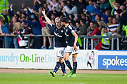 Dundee forward Paul McGowan (#18) celebrates Dundee's second goal (2-1) with Dundee forward Faissal El Bakhtaoui (#20)ring the Betfred Scottish Cup match between Dundee a/d Dundee United at Dens Park, Dundee, Scotland on 9 August 2017. Photo by Craig Doyle.