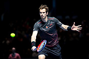 Andy Murray returns with a backhand slice during the Andy Murray Live event at SSE Hydro, Glasgow, Scotland on 7 November 2017. Photo by Craig Doyle.