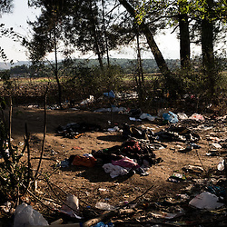 Debris accumulated meters away from the Macedonia-Greece border. About 3000 refugees cross everyday into Macedonia.