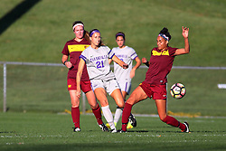 04 November 2016:  JBess Ruby(21) and Sienna Cruz(11) during an NCAA Missouri Valley Conference (MVC) Championship series women's semi-final soccer game between the Loyola Ramblers and the Evansville Purple Aces on Adelaide Street Field in Normal IL
