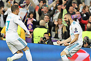 Célébration Goal Karim Benzema (Real Madrid) during the UEFA Champions League, semi final, 2nd leg football match between Real Madrid and Bayern Munich on May 1, 2018 at Santiago Bernabeu stadium in Madrid, Spain - Photo Laurent Lairys / ProSportsImages / DPPI