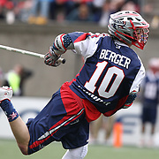 Stephen Berger #10 of the Boston Cannons follows through on a shot during the game at Harvard Stadium on April 27, 2014 in Boston, Massachusetts. (Photo by Elan Kawesch)