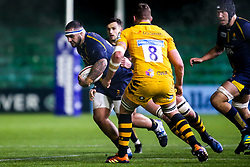 Kai Owen of Worcester Cavaliers takes on Tom Willis of Wasps A - Mandatory by-line: Robbie Stephenson/JMP - 16/12/2019 - RUGBY - Sixways Stadium - Worcester, England - Worcester Cavaliers v Wasps A - Premiership Rugby Shield
