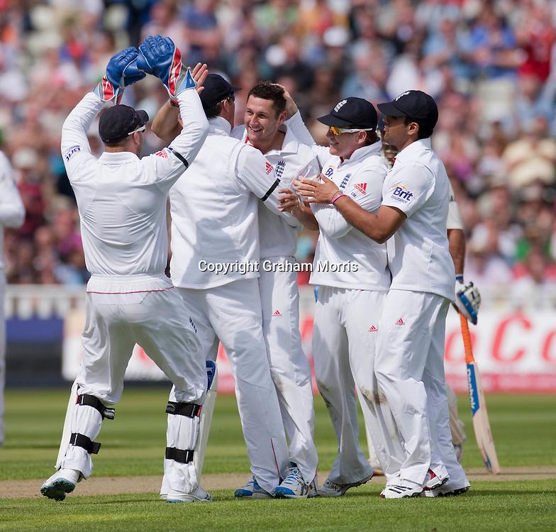 Tim Bresnan celebrates the wicket of VVS Laxman during the third npower Test Match between England and India at Edgbaston, Birmingham.  Photo: Graham Morris (Tel: +44(0)20 8969 4192 Email: sales@cricketpix.com) 10/08/11