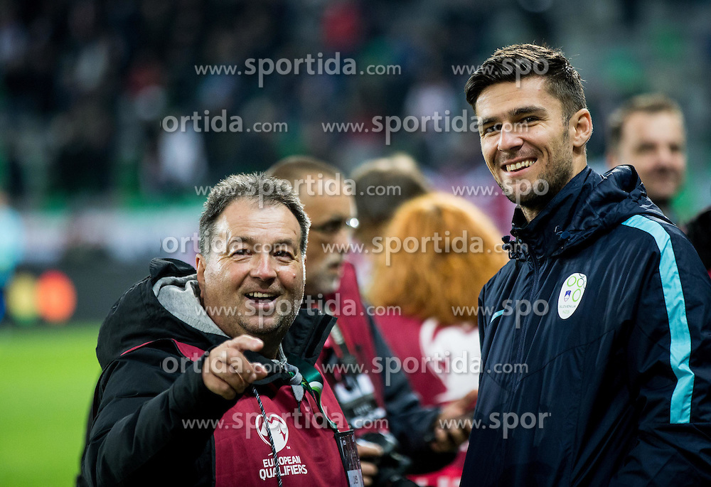 Drago Wernig Taka and Rok Kronaveter of Slovenia ahead to the football match between National teams of Slovenia and England in Round #3 of FIFA World Cup Russia 2018 Qualifier Group F, on October 11, 2016 in SRC Stozice, Ljubljana, Slovenia. Photo by Vid Ponikvar / Sportida