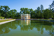 Wide angle shot of a house on a lake on the grounds of Catherine Palace near St Petersburg
