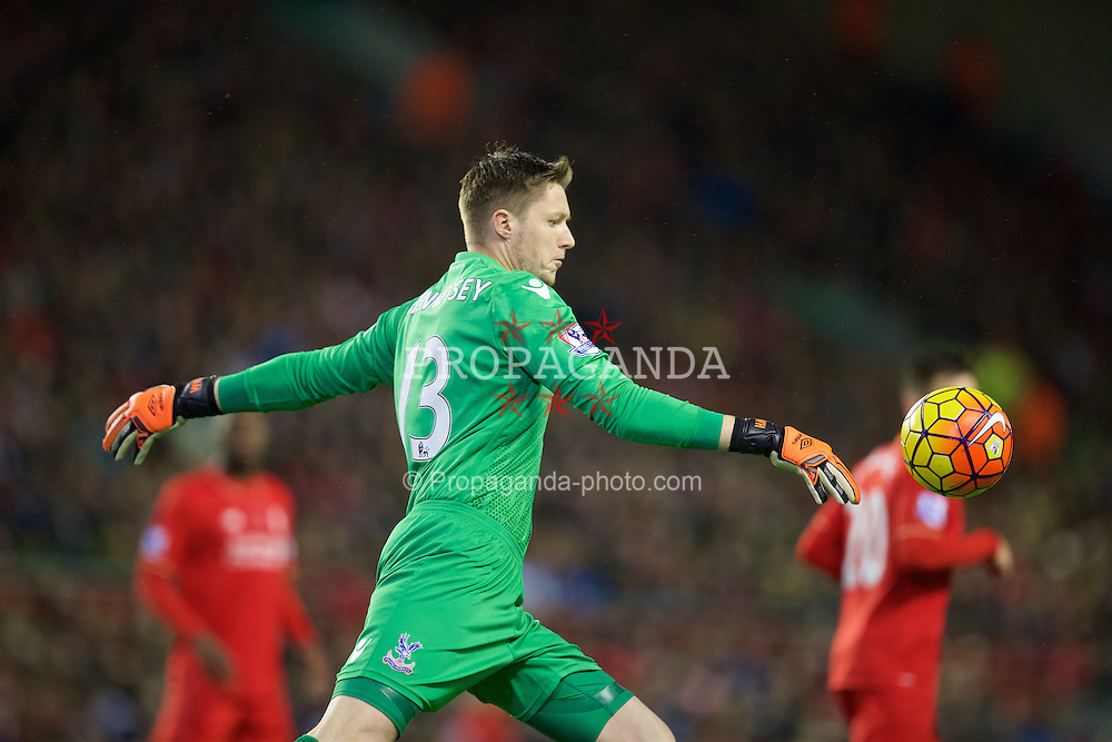 LIVERPOOL, ENGLAND - Sunday, November 8, 2015: Crystal Palace's goalkeeper Wayne Hennessey in action against Liverpool during the Premier League match at Anfield. (Pic by David Rawcliffe/Propaganda)