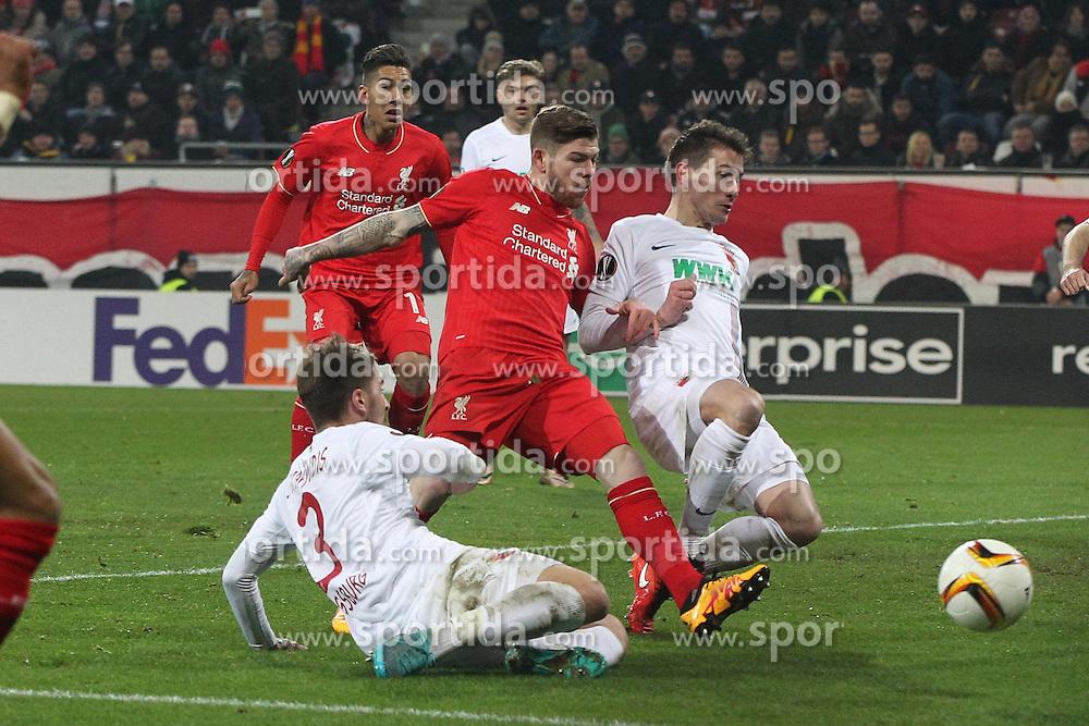 18.02.2016, WWKArena, Augsburg, GER, UEFA EL, FC Augsburg vs FC Liverpool, Sechzehntelfinale, Hinspiel, im Bild Konstantinos Stafylidis ( FC Augsburg ) Alberto Moreno ( FC Liverpool ) Paul Verhaegh ( FC Augsburg ) // during the UEFA Europa League Round of 32, 1st Leg match between FC Augsburg and FC Liverpool at the WWKArena in Augsburg, Germany on 2016/02/18. EXPA Pictures © 2016, PhotoCredit: EXPA/ Eibner-Pressefoto/ Langer<br /> <br /> *****ATTENTION - OUT of GER*****