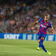 BARCELONA, SPAIN - August 25:  Rafinha #12 of Barcelona in action during the Barcelona V  Real Betis, La Liga regular season match at  Estadio Camp Nou on August 25th 2019 in Barcelona, Spain. (Photo by Tim Clayton/Corbis via Getty Images)