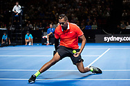 SYDNEY, NSW - JANUARY 07: Nick Kyrgios (AUS) at The Sydney FAST4 Tennis Showdown on January 07, 2018, at Qudos Bank Arena in Homebush, Australia. (Photo by Speed Media/Icon Sportswire)