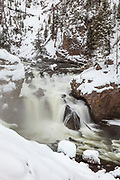 Firehole Falls during winter in Yellowstone National Park