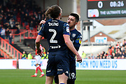 Goal - Luke Ayling (2)  of Leeds United and Pablo Hernandez (19) of Leeds United celebrate after Patrick Bamford (9) of Leeds United scored a goal to give a 0-1 lead to the away team  during the EFL Sky Bet Championship match between Bristol City and Leeds United at Ashton Gate, Bristol, England on 9 March 2019.
